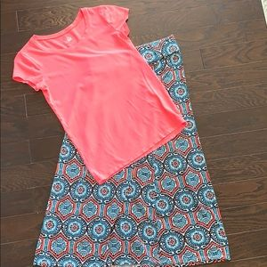 Girls Justice coral top with matching skirt